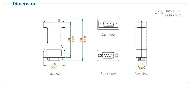 Kích thước bộ chuyển đổi RS232 - RS485